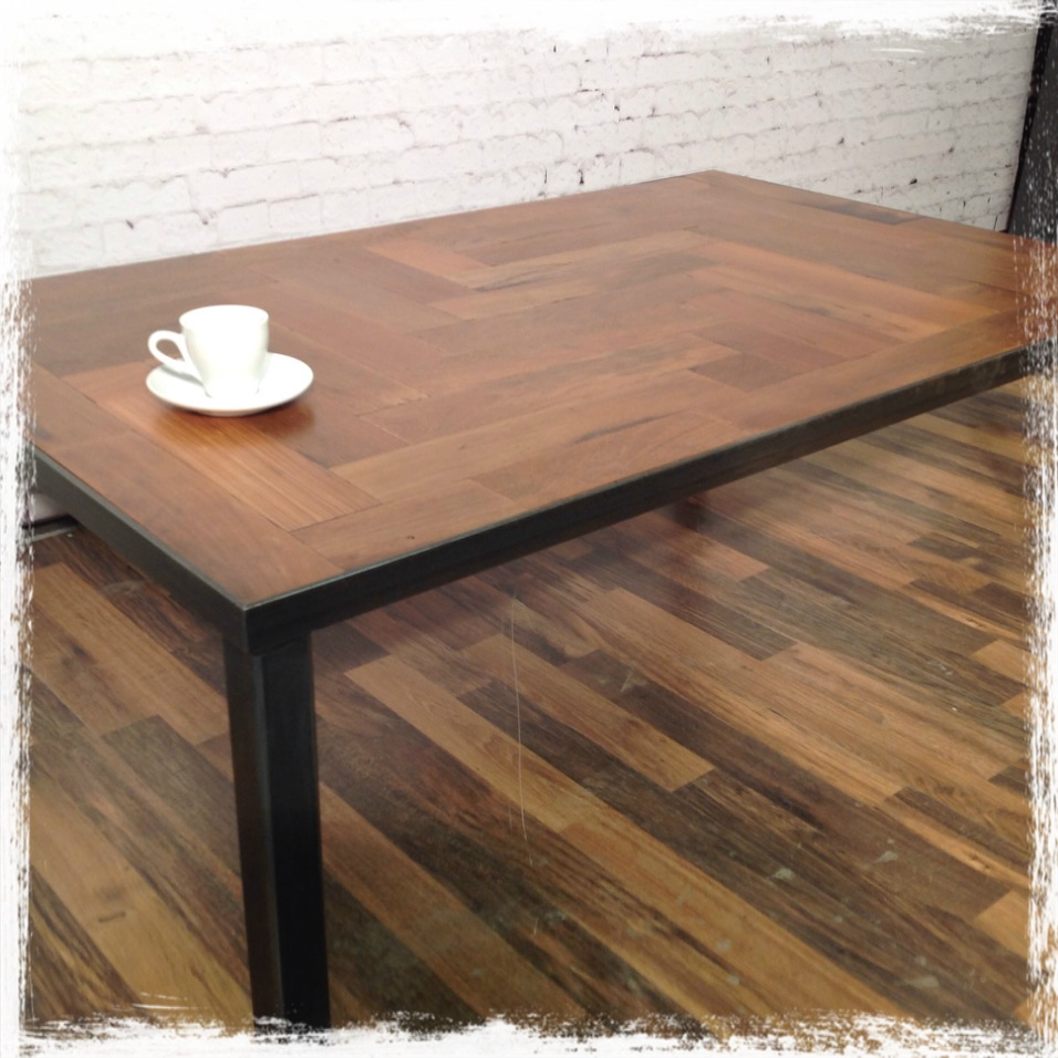 reclaimed parquet flooring coffee table