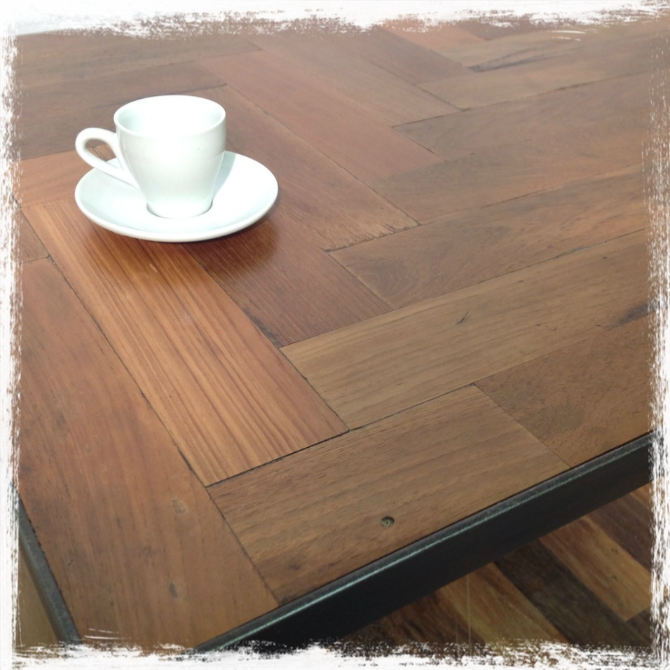 Parquet Steel Coffee Table: Parquet And Steel Coffee Table